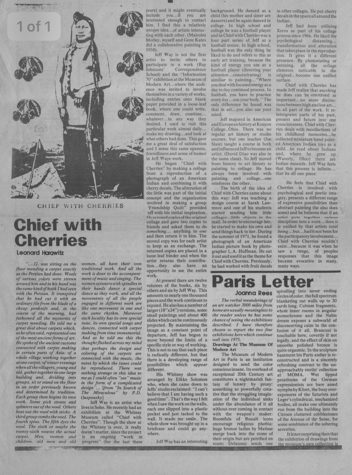 Chief with Cherries, Horowaitz Leonard, The Soho Weekly News, 1974