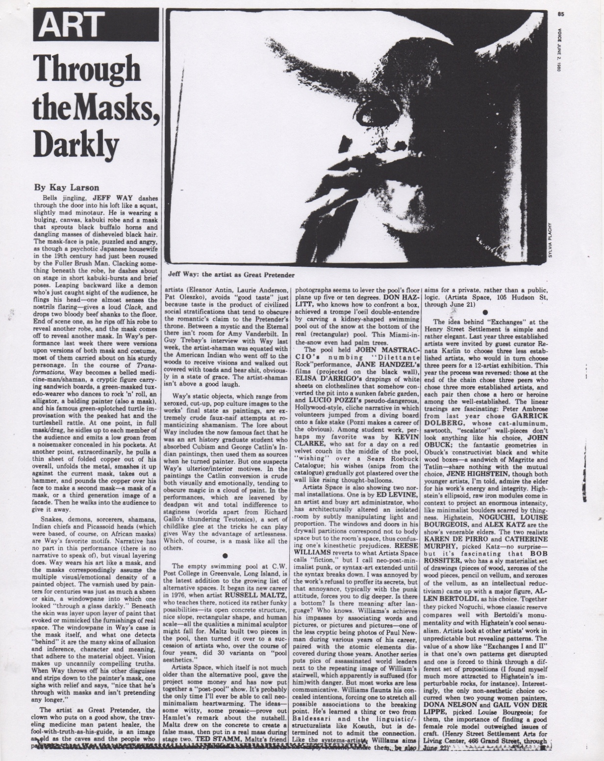 Through the Mask Darkly, Larson Kay, Village Voice, 1979