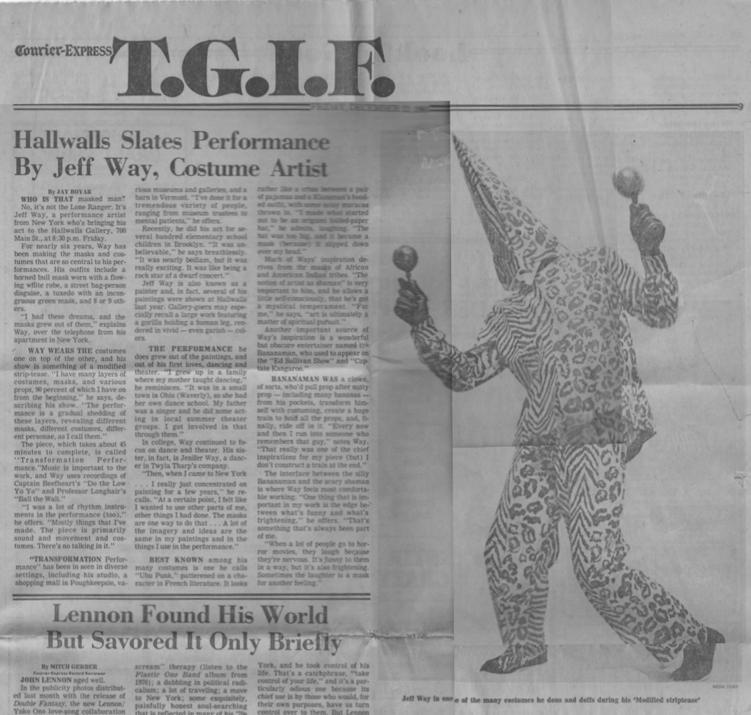 Hallwalls Slates Performance By Jeff Way, Costume Artist, Boyar Jay, Courier-Express, 1980