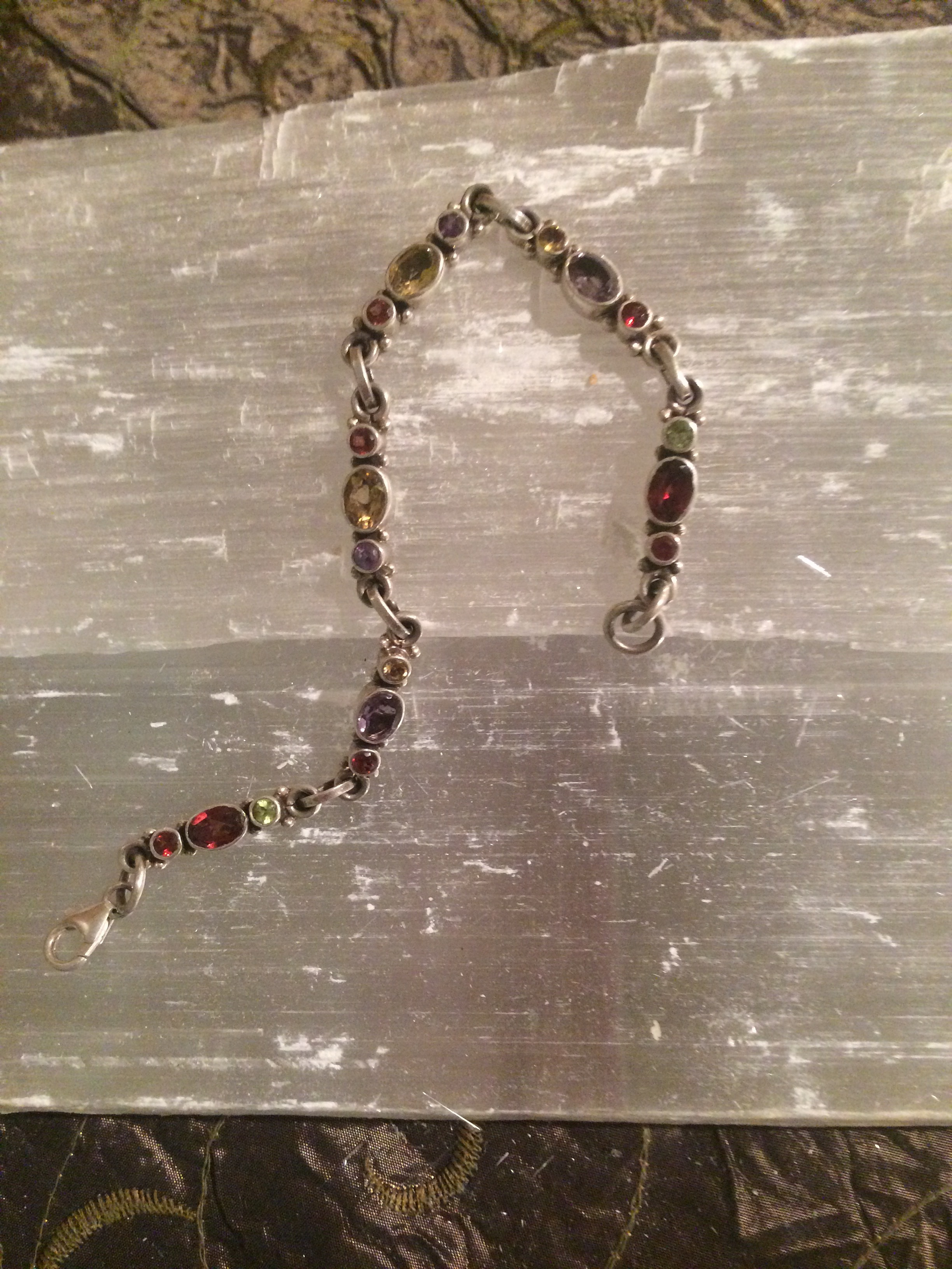 Garnet, Citrine, and Peridot Bracelet from Indonesia SQ110 7x.5 75.00
