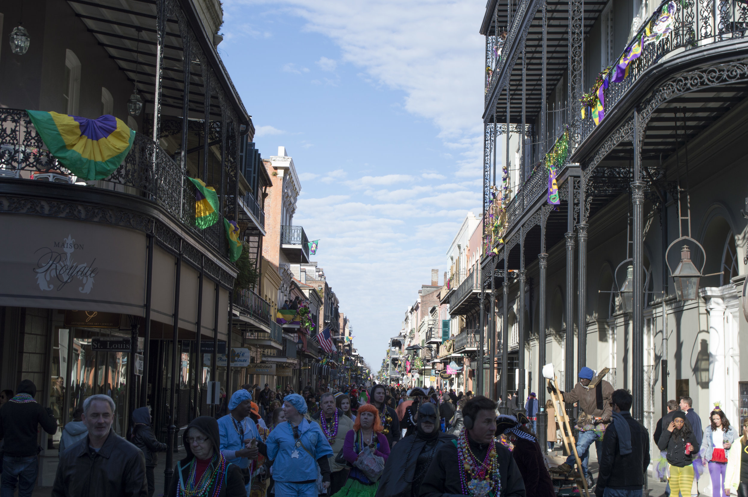Mardi Gras Day in 2015, being just over 5 ft tall I took this photo on a whim. I held up my camera and hoped for the best.