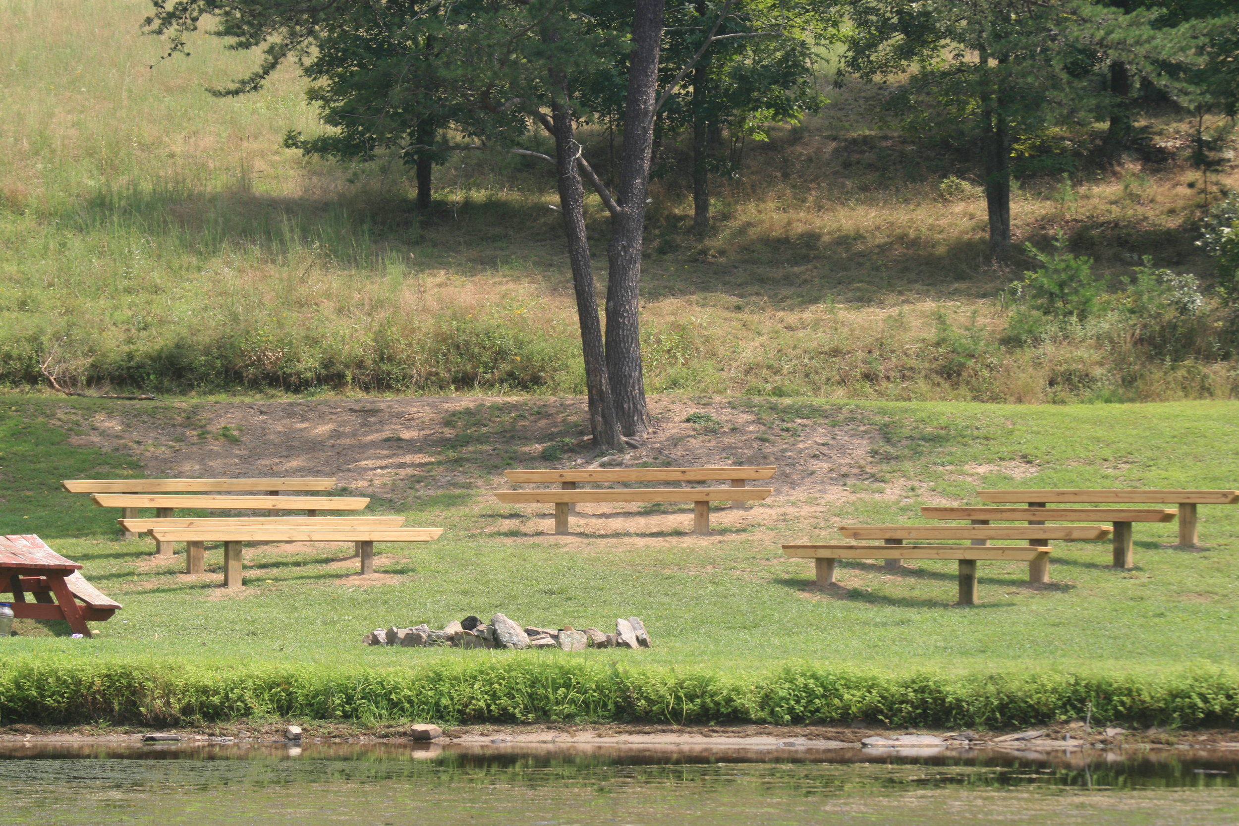 One of our beautiful ceremony sites - right beside our lake.
