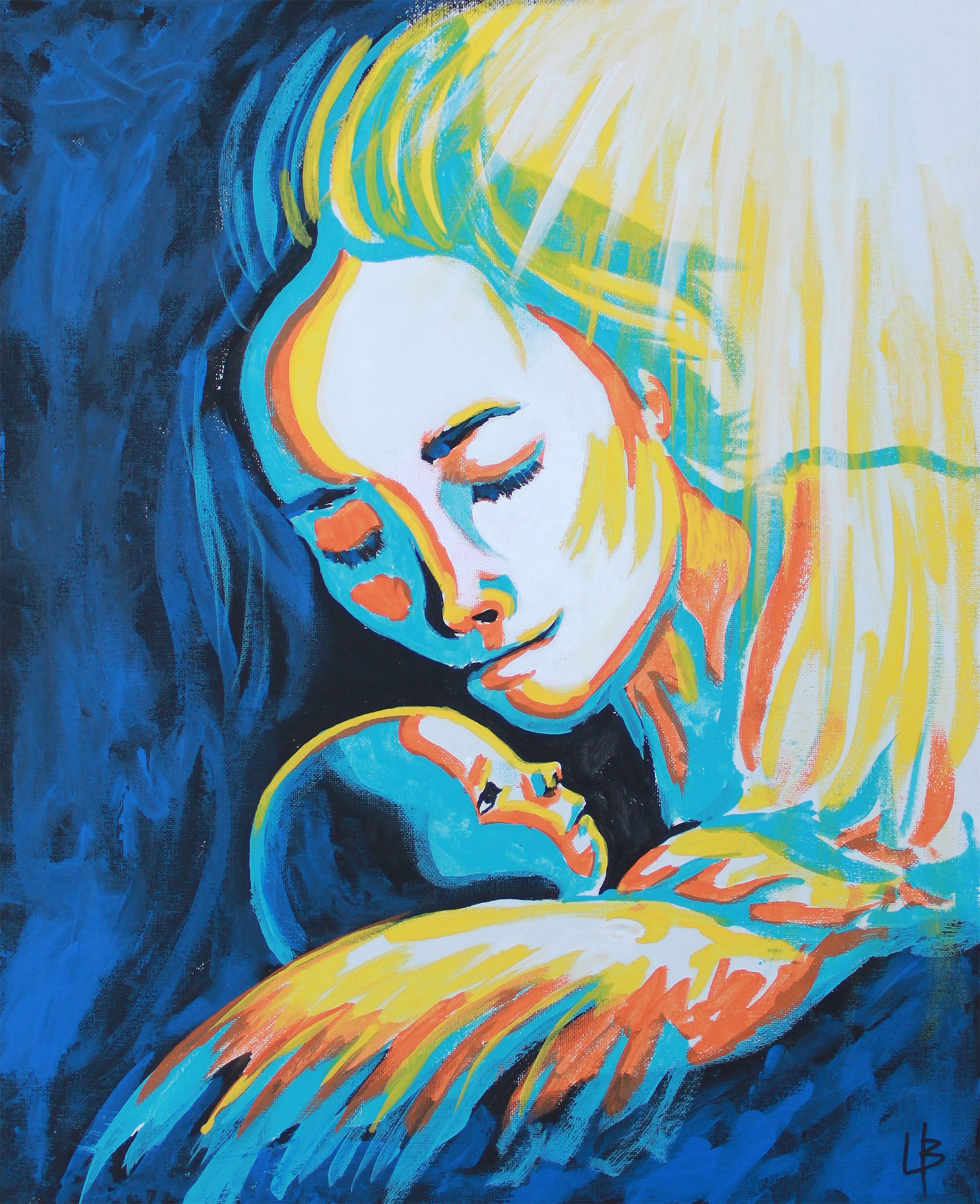 Mary and Baby - Mary and Jesus Painting