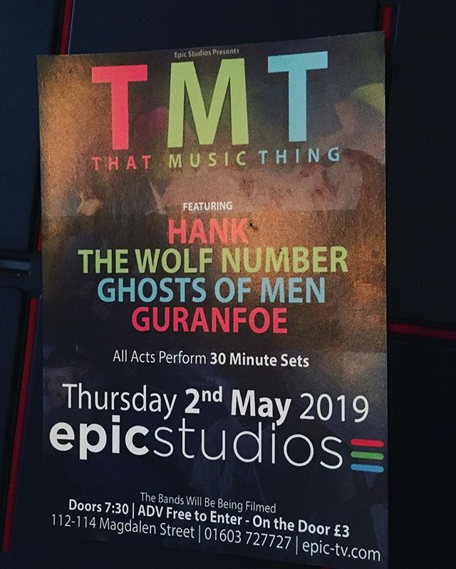 Very excited about this live showcase in Norwich on 2nd May @epicnorwich playing alongside some truly awesome bands including @hankband @ghostsofmen & Guranfoe  the whole show is being filmed for TV and will be professional streamed live. So if you can't make it watch it online or even better, come!! It's free so come jump around for us! TWN xx