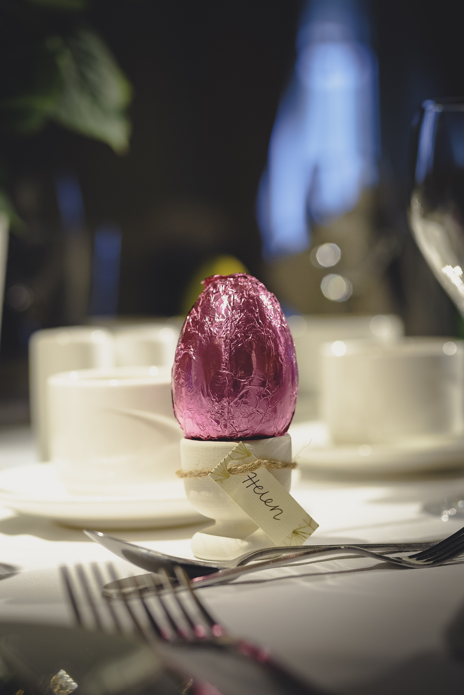 As the wedding fell over Easter, I painted little egg cups and gave everyone a personalised Easter egg as a place setting and favour