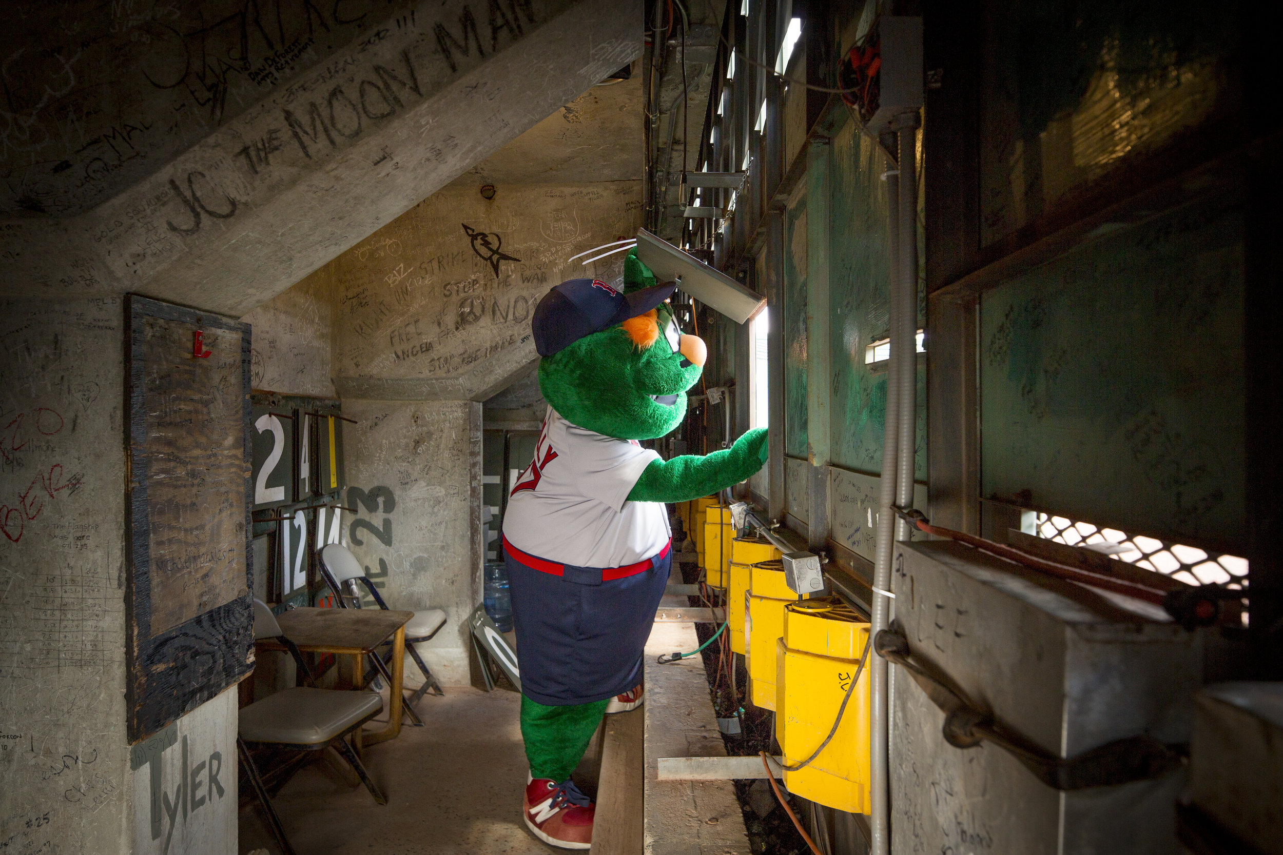 Wally the Green Monster Behind Fenway Park Score