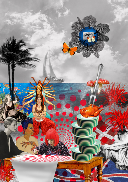 Personality moodboard - keywords: my heroes, dancing, making food for friends and exotic holidays.