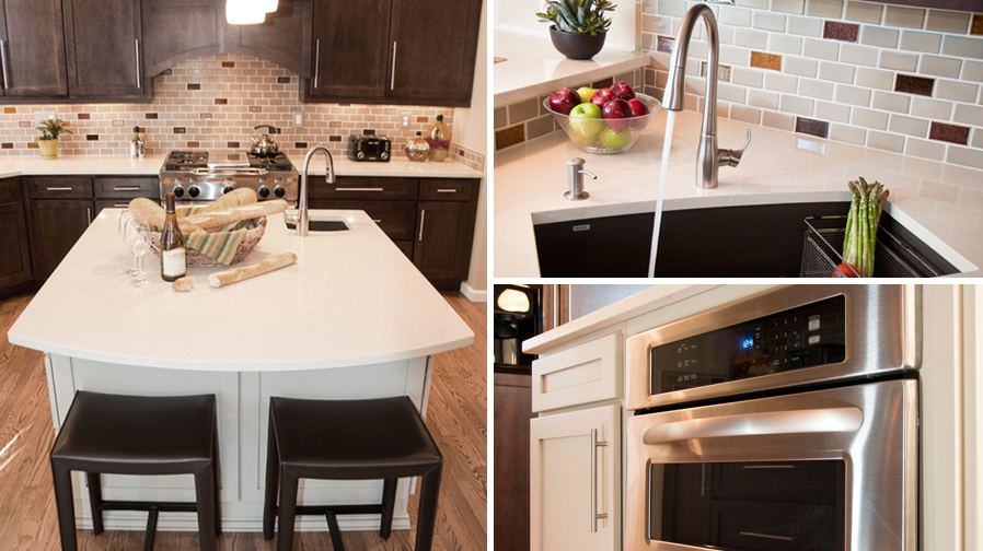 A family of five now has a better layout to maneuver in, as well as, many cooking, prep and seating areas in this kitchen remodel. Clean quartz countertops, simple lines, and neutral-toned cabinetry are popped by gold, plum and teal crackle-glass tiles placed randomly throughout the backsplash.