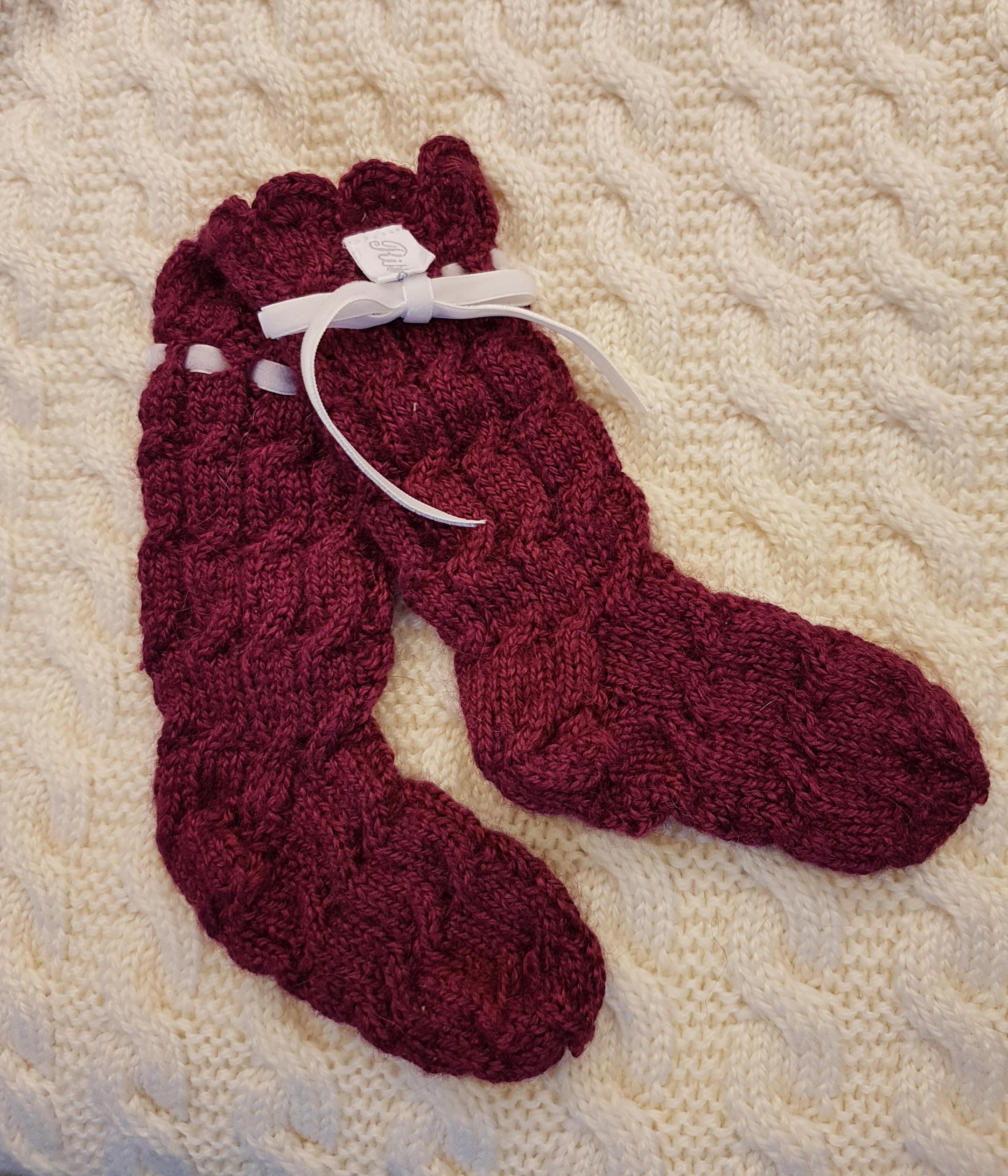 Håndstrikkede sokker i silke og alpakka, og babyull