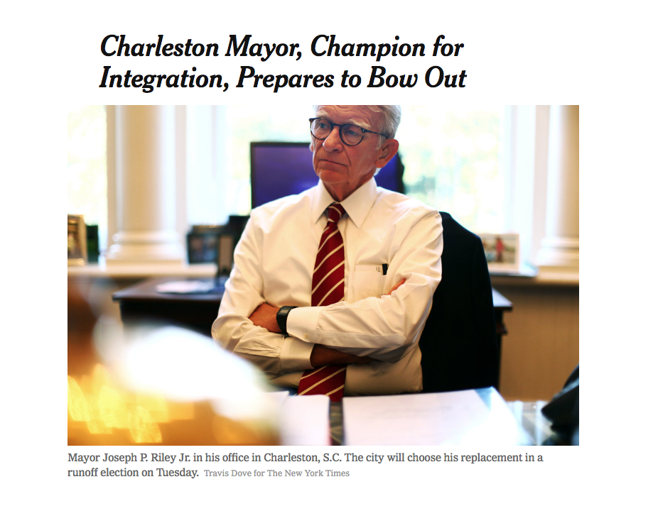 "NEW YORK TIMES - Online feature about Joe Riley, Charleston's mayor of 40 years, and his biography  The Mayor  by Brian Hicks   In his new biography, ""The Mayor: Joe Riley and the Rise of Charleston,"" Brian Hicks, a local news columnist, recounts that when Mr. Riley marched to Columbia in 2000 to call for the Confederate flag's removal from the capitol, he was forced to wear a bulletproof vest after receiving threats. Later that year, the legislature moved the flag off the capitol dome to a place in front of the building.... Read More"