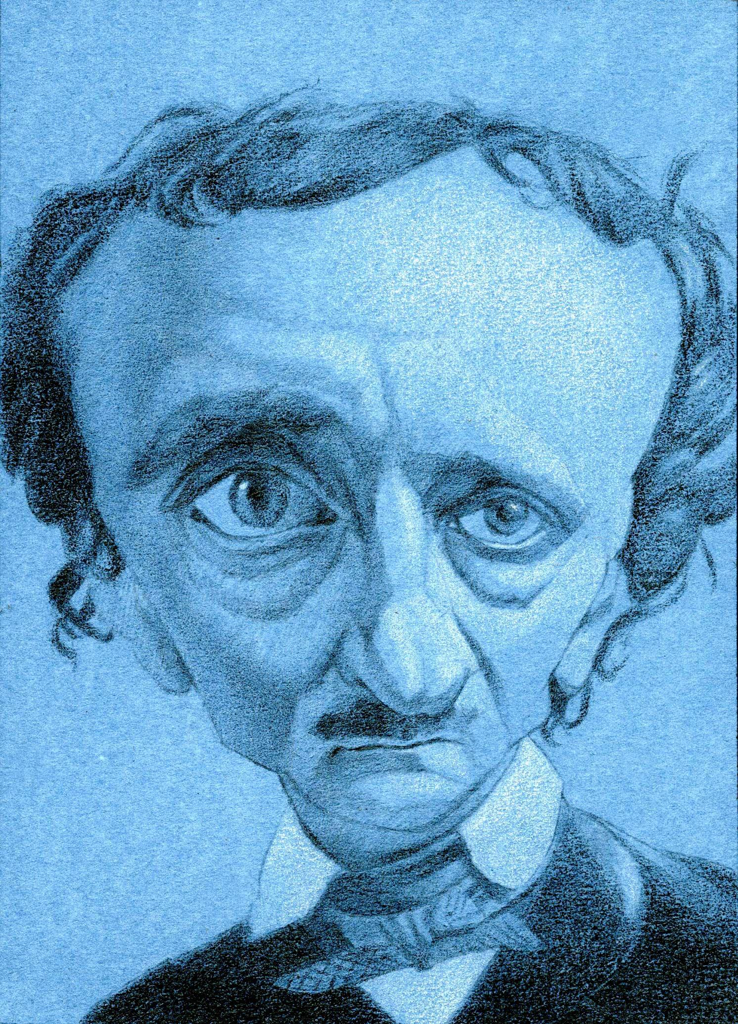 Edgar Allen Poe,  2017  Pencil on paper  5 x 7 iuches
