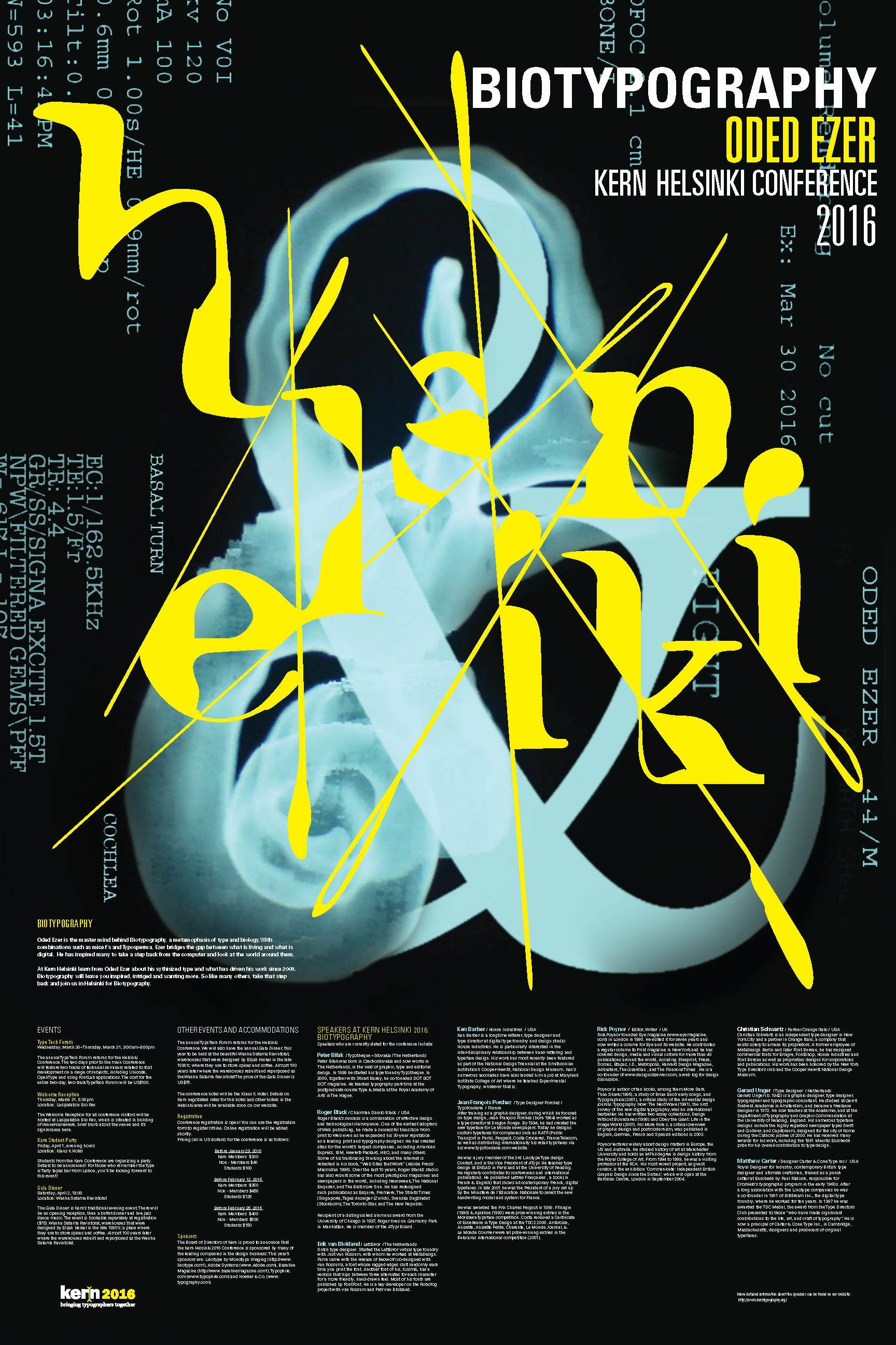 Kern Helsinki 2016 - A conference poster highlighting typography, Oded Ezer, and the beautiful city of Helsinki Finland.