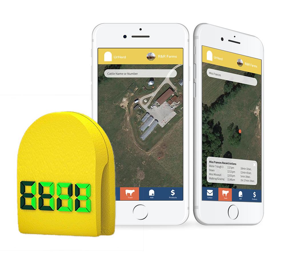 UrHerd e-tag and app screens.