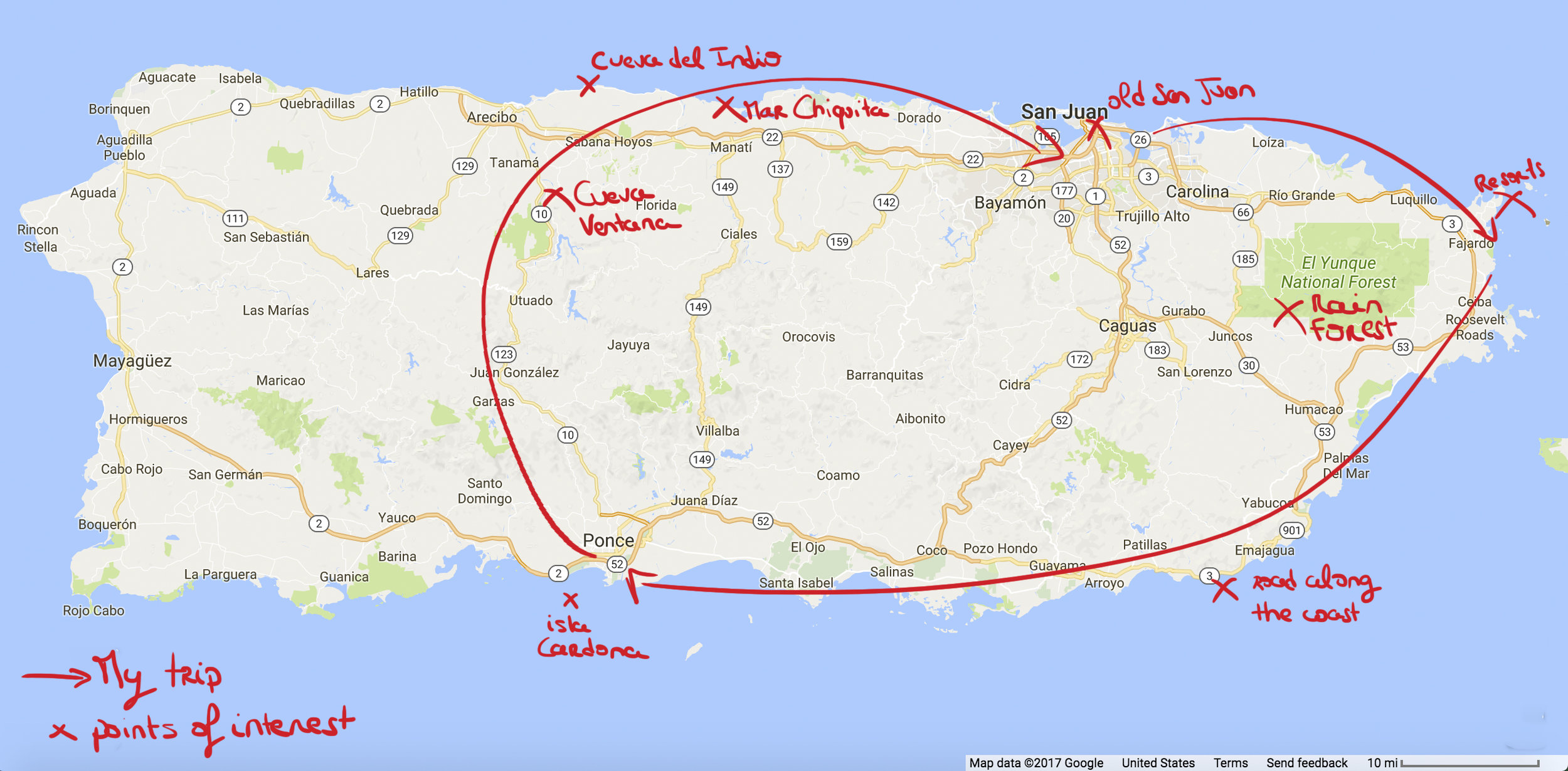 A map that sums up the trip. We have not done all the points of interest but they were recommended by local people.