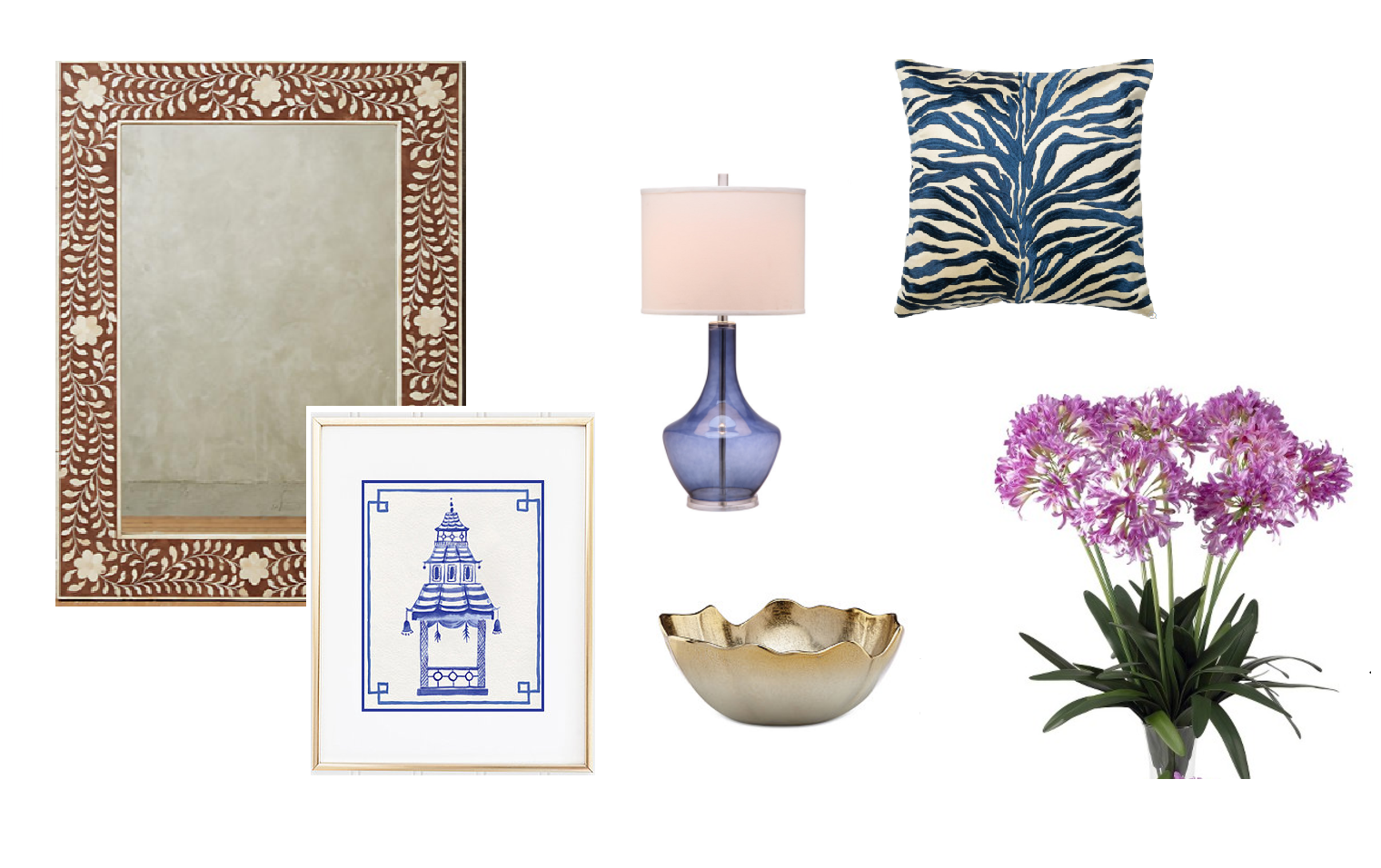 mirror  /  pagoda print  /  table lamp  /  nut bowl  /  throw pillow