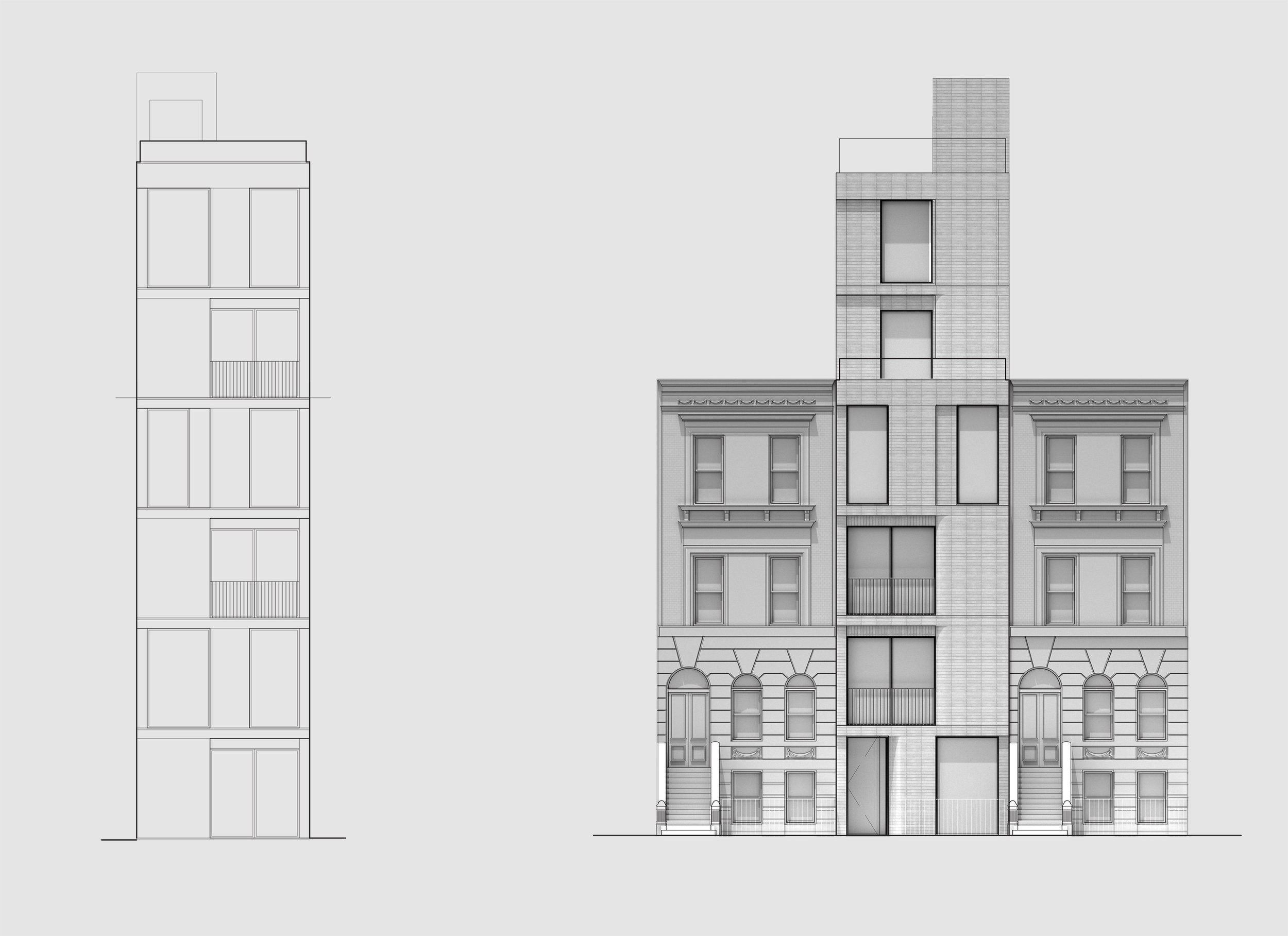 Exterior elevations, rear and front.