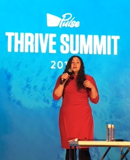 Laurie Santos, Yale Professor presented health implications of college stress on future workforce at Virgin Pulse Thrive conference in Miami.