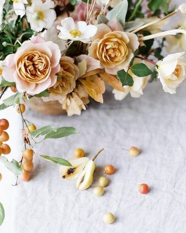 A favorite color palette for fall - dusty blush, golden mustard and pear. By @soilandstem.