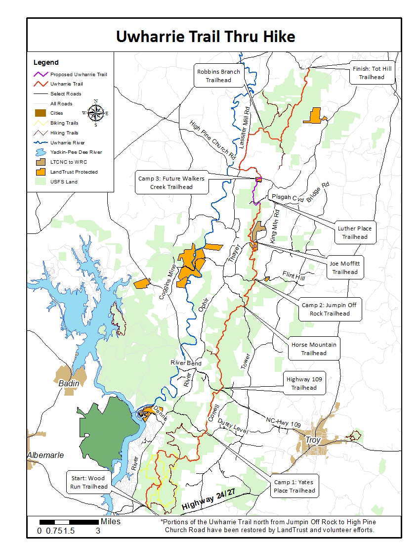 Uwharrie Trail - Map distributed for the 2017 Uwharrie Trail Thru HikeProvided by the Land Trust for Central North Carolina