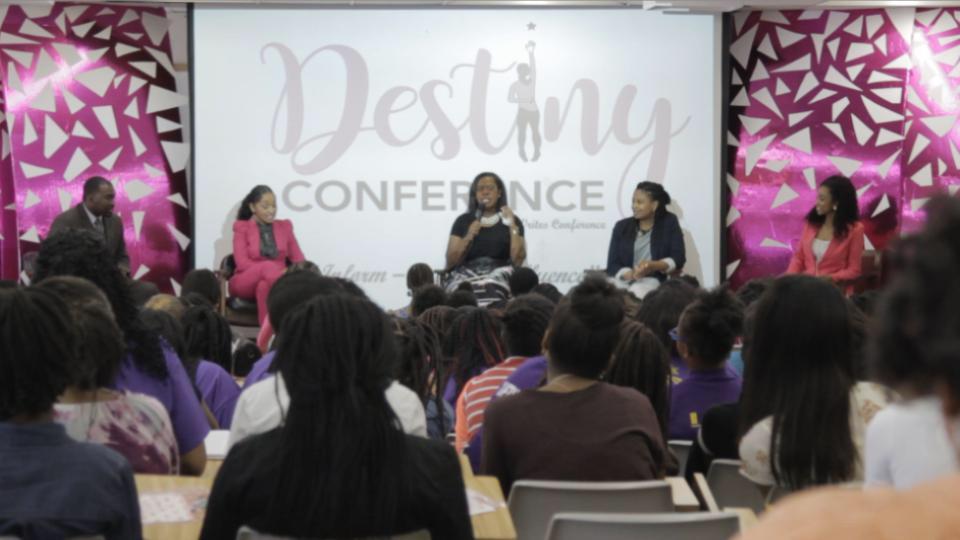 Destiny Conference with Principal Hayward Jean, Former Deputy Superintendent Dr. Sharon Quinn, ABC News' Kimberlei Davis, Harvard Grad Taylor Green, and Conference Host Jordone Massey