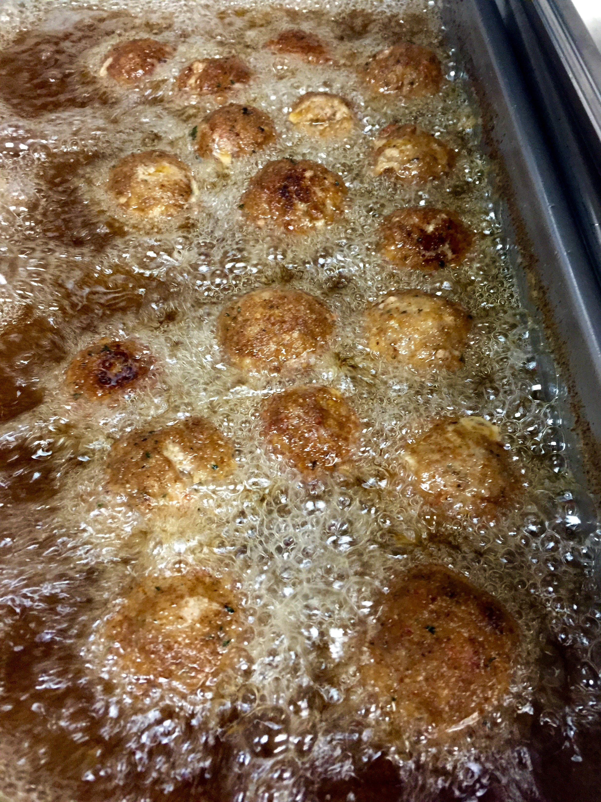 Meatballs into the fryer
