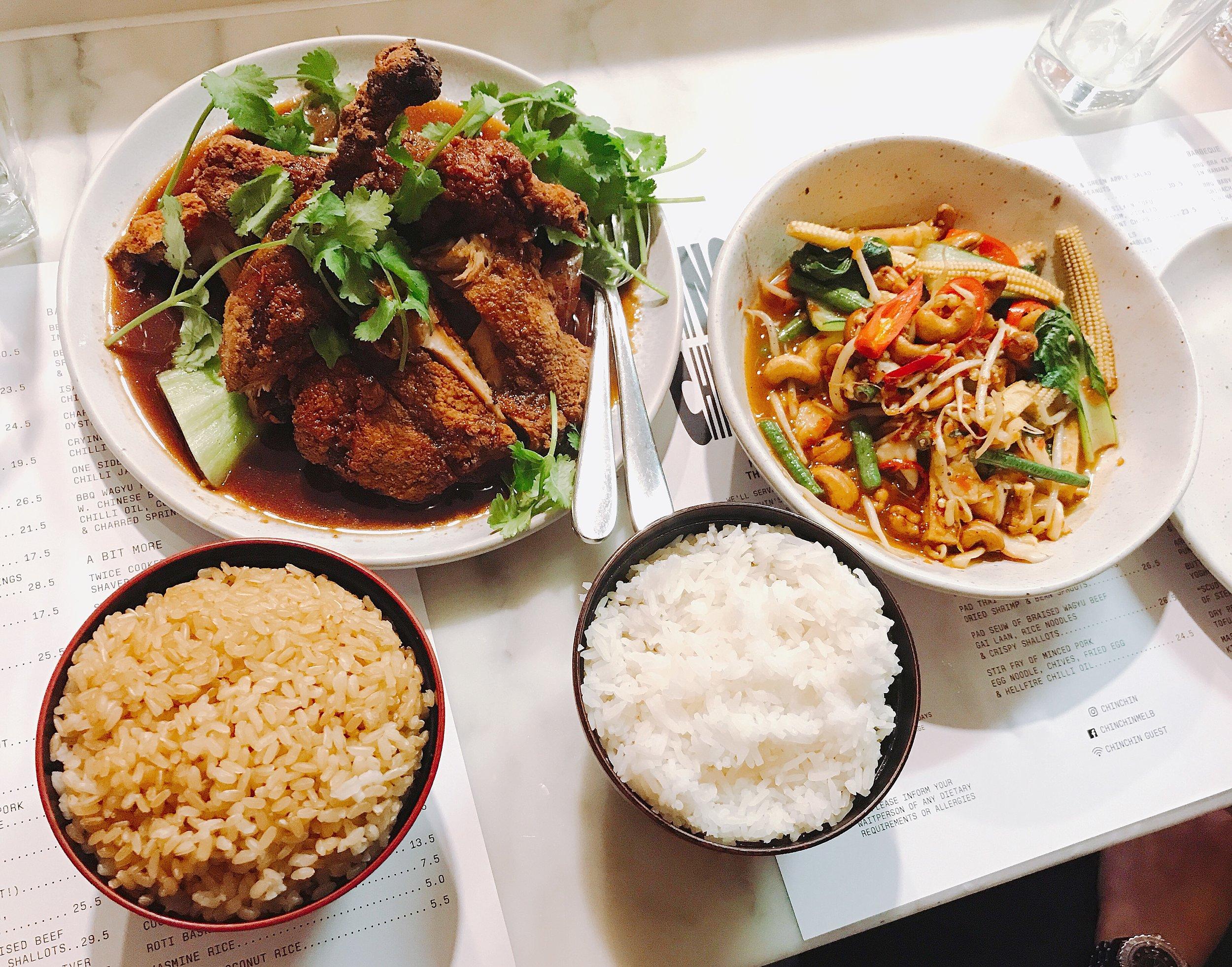 Crispy skinned duck & wok fried veggies  @sipsandnibs