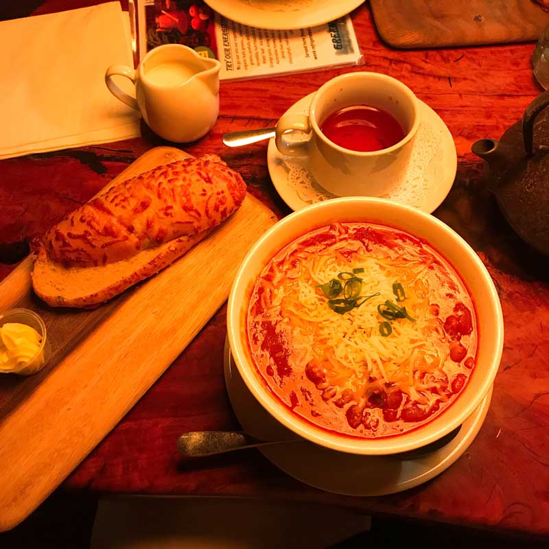 Yummy chili with jalapeno bread.  @sipsandnibs