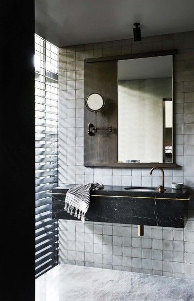 Really like everything in this, especially the square tiles, the black marble vanity.