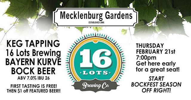 It's that time again! THIS THURSDAY come join us and our friends from @16lotsbrewing to tap their Bock Beer. What better way to start off the bock season! 🍻 as always come early to get some grub and a seat in the bier hall.  Doors Open: 7 PM Keg Tapped: 7:30 PM PROST! #monthlykegtapping #localbrews #bockbeer #bockisback #tellafriend