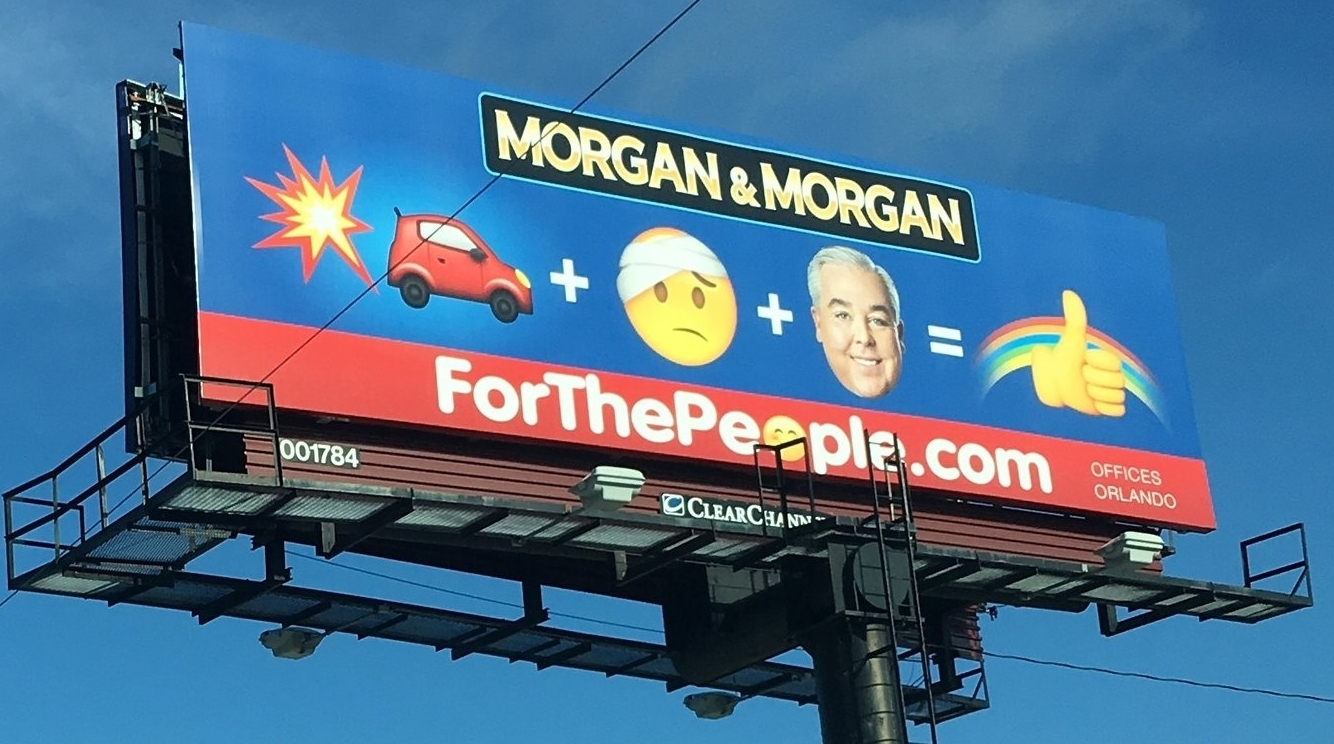Morgan & Morgan has perfected Emoji on both social media & on billboards (and busses) across the country!