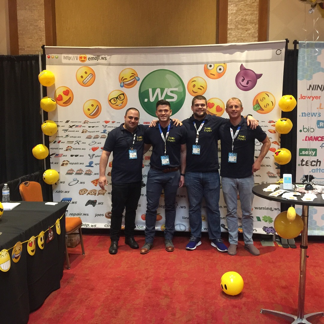 "The ""Emoji Experts"" team made up by Matan Israeli (EmojiURL) and Mike Razz, Eric Thoni, and Tanner Schenck (Emoji Empires), ready to roll at NamesCon day 1️⃣ of expo."