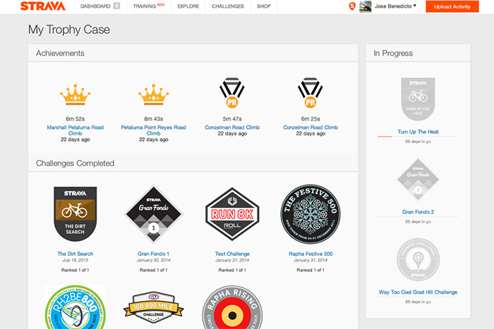 Examples of a Strava user's Trophy Case. Users receive badges for personal achievements and Challenges completed.