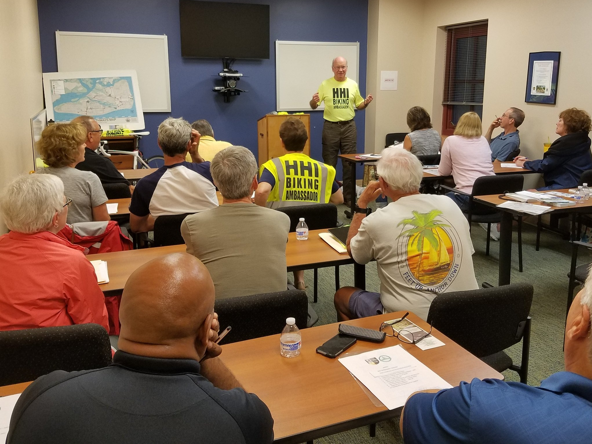 John Witherspoon presents information for new Bike Ambassador trainees.