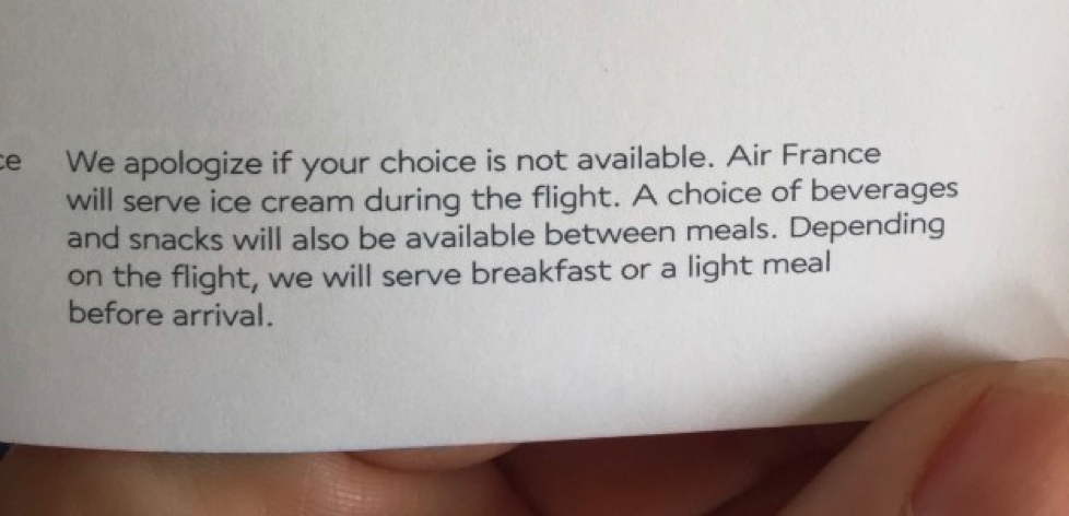 It was my first time flying Air France and they won me over with this fine print on the bottom of the in-flight menu…ice cream during the flight!