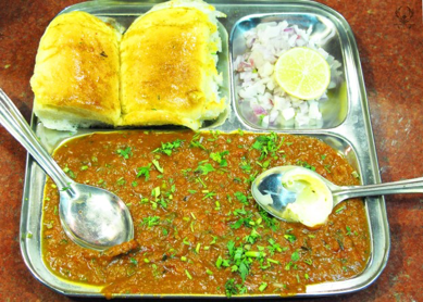 Served on metal trays with bread to mop up the curry, pav bhaji hits the spot!