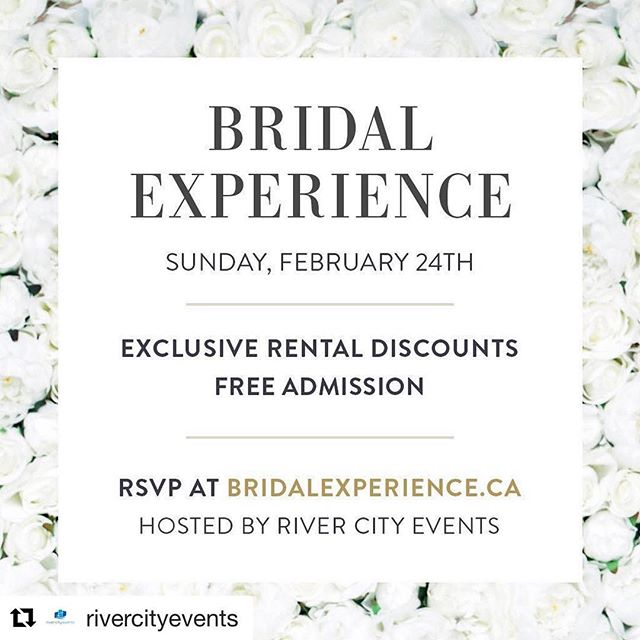 Just a reminder! Brides that book from this event will also get a promotion from us ! #Repost @rivercityevents with @get_repost ・・・ Our Bridal Experience is just around the corner. It's a great opportunity to experience everything you need for your wedding up-close and in-person. See the latest trends, find new ideas, get an awesome discount on event rentals and meet Edmonton's best wedding vendors: @mbheritagevalley  @thedressloungeyeg  @ephapparel  @strongbartending  @bridgescateringyeg  @mercerscatering  @sawmillbanquets  @happywifehappylifeent  @djkwake  @cerisefloralstudio  @_maimakeup  @matrixhotel  @novahotels  @westinedmonton  @jwmarriottedm  @daveozubko  @intoxicatedart  @pinkstarphotography  @prestigelimo_edm  @whitewoodbarn  @thecanadianbrewhouse  @laurabellacakery  @jack_axe_yeg  @acappellacatering @beautyonjasperave @creativehiveyeg . . . . . . . #weddingdecor #weddingideas #weddingrentals #weddinginspiration #yegweddings #bridal #rcebridalexperience #planyourwedding #planyourweddingwithus