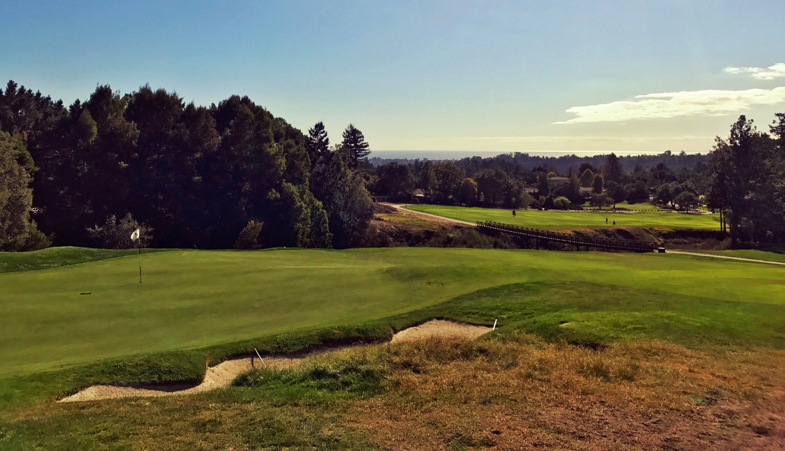 View from behind the eleventh green with the barranca in the foreground and Pacific in the distance.