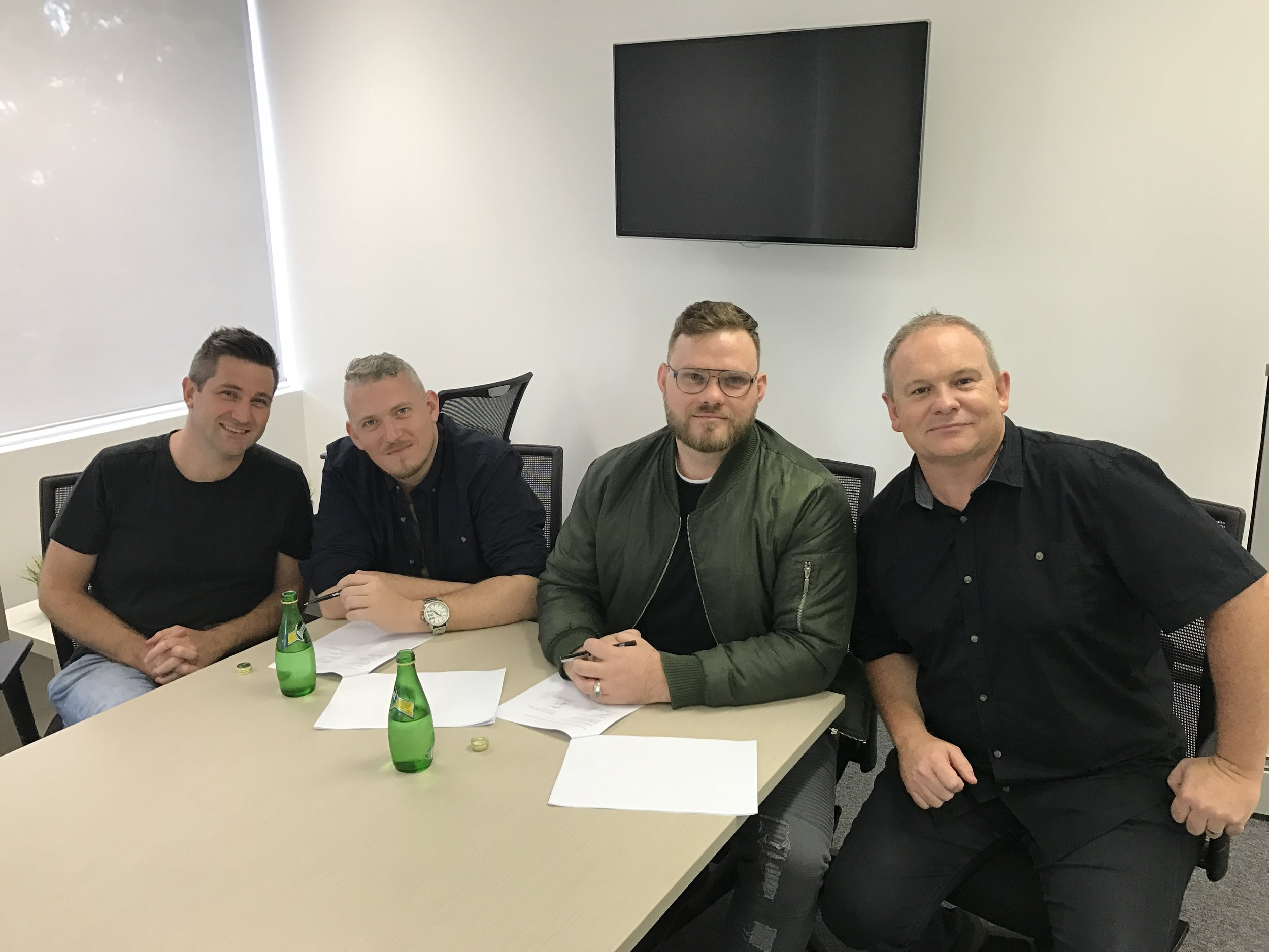 Left to right – Nathan Eshman (A&R – SHOUT!), Josh Banton, Ben Banton, Steve McPherson (CEO – SHOUT!)