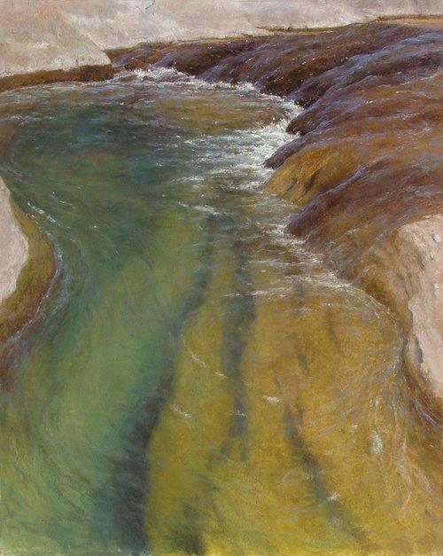 """Lving Waters 30"""" x 24"""" pastel"""