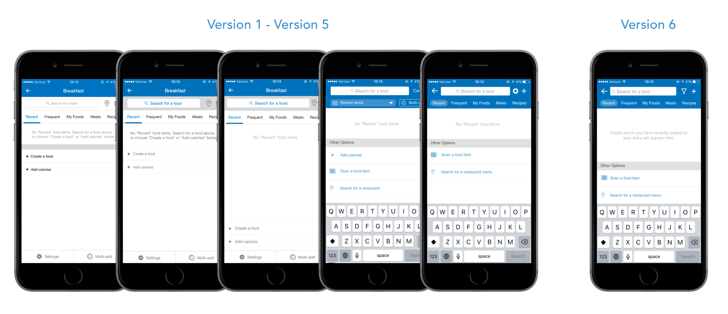 Six versions of my prototype throughout the validation process