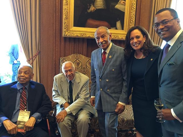 """Judge Keith was an inspiring role model for many and a courageous judge. """"Judge Keith was the very definition of a trailblazer. The grandson of slaves, he was only the 6th African American to serve on the federal court of appeals. May his life be an example to us all. Rest in peace, Your Honor."""" @repbarbaralee  Photos  #JudgeDamonKeith at an event honoring him at the US Supreme Court in July, 2017, with Eric Holder, Nina Totenberg, @kamalaharris and others. #judgekeith"""