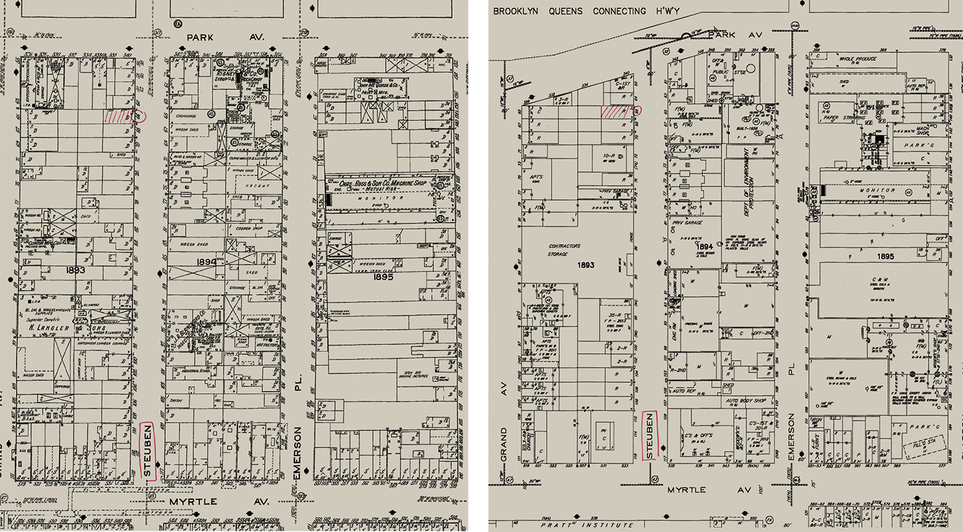 1915 (left) and 2015 (right) Sanborn original maps showing a part of Clinton Hill neighborhood.