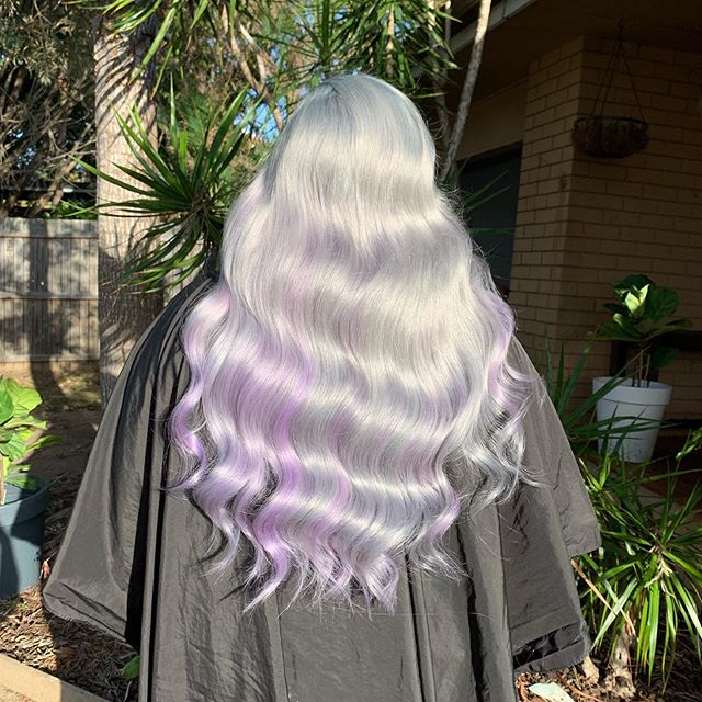 No filter was needed for this beauty! Jess is going to Disneyland to celebrate Halloween this year, and is going dressed as Ursula from the little Mermaid 🧜🏼‍♀️ I lifted Jess' hair using @nakhair powder lightener, pre toned with 10.2 10.01 9.2 and silver for 20minutes. Rinsed, fully dried and applied pulpriot smoke and mercury to the regrowth, smudged it out to mercury. And applied diamond panels of lilac through out. @pulpriotaustralia @pulpriothair #@nakhair @olaplexau  @olaplex #olaplex #nakhair #pulpriot #pulpriothair #pulpriotmercury #pulpriotsmoke #pulpriotlilac #platinumblonde #silverhair #lilachair #iceyhair #blondehair #brisbanehairdresser #brisbanehair #brisbanesalon