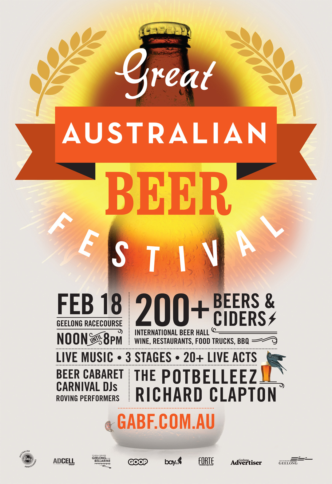 Great Australian Beer Festival - The Great Australian Beer Festival attracts 5,000 beer-lovers annually for an extravaganza of craft beer and local food. This branding project started as a logo and has grown into a complete identity, updating yearly to reflect the festival's vibe.