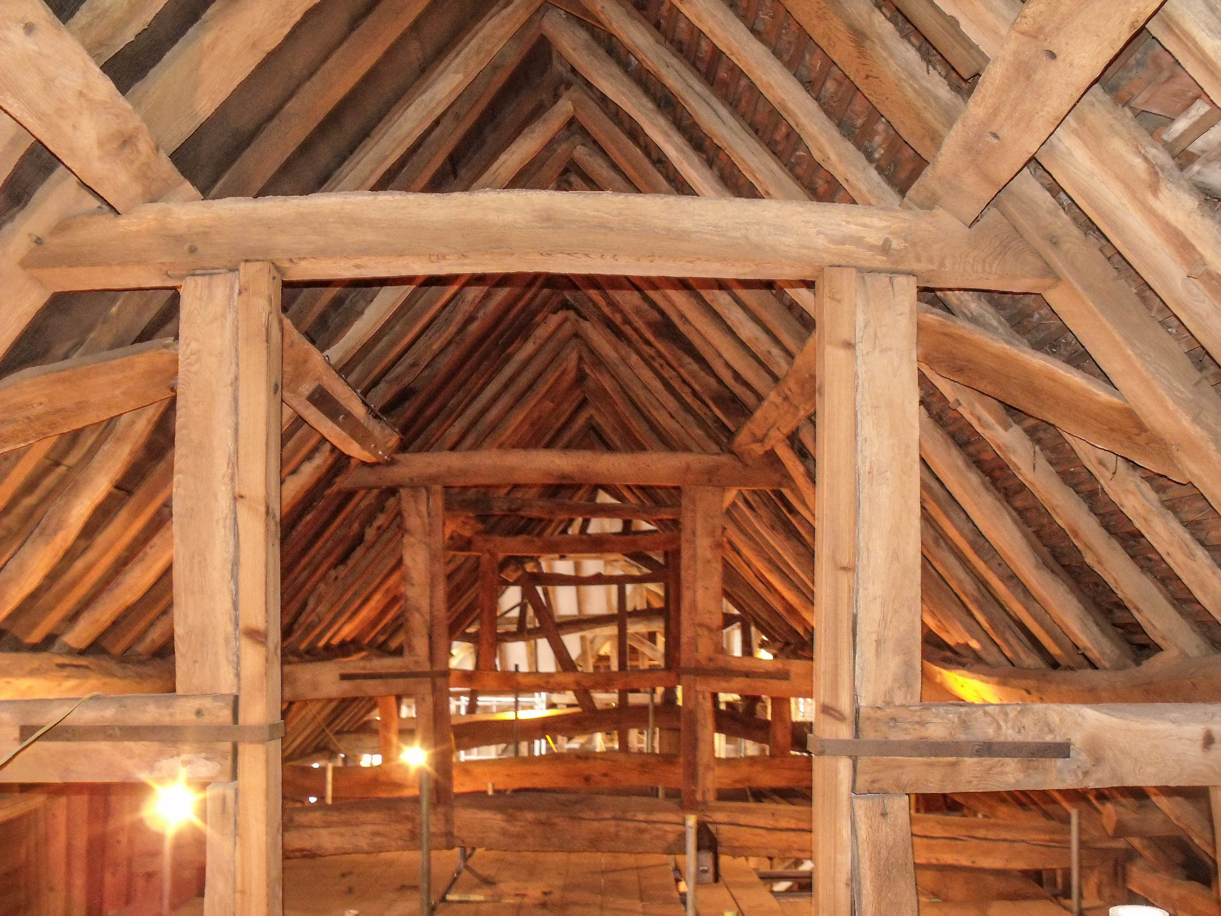 A timber-frame barn where LSC undertook inspection surveys in advance of conversion works