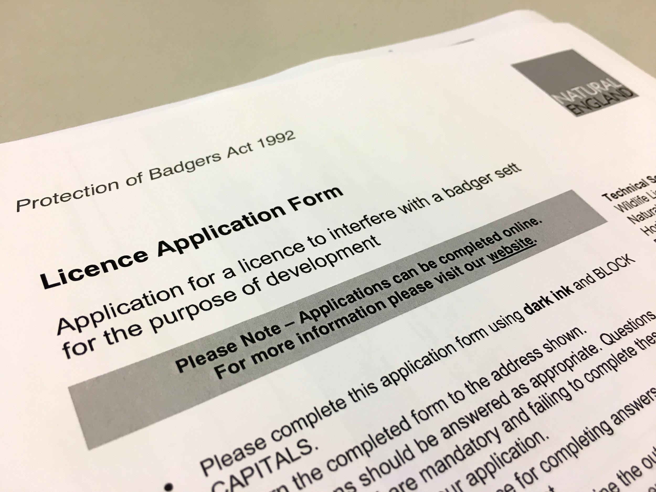 badger licence application form