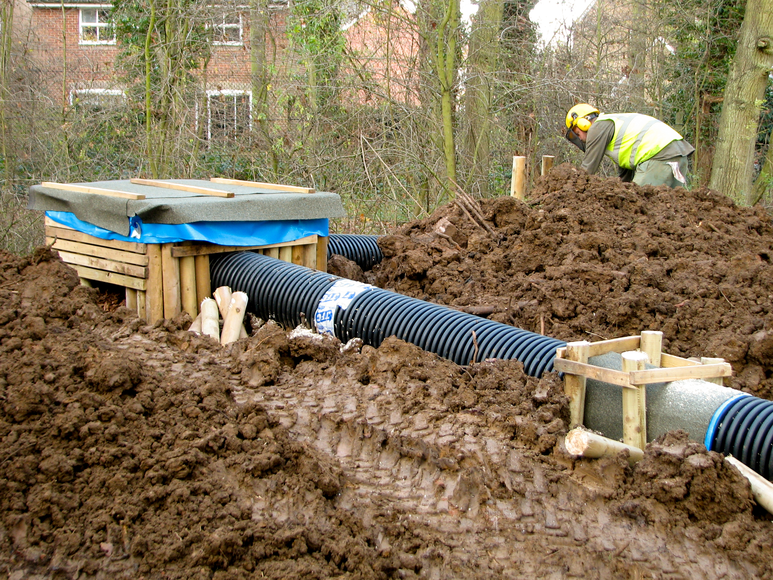 The construction of an artificial badger sett, designed and implemented by LSC Ecologists,