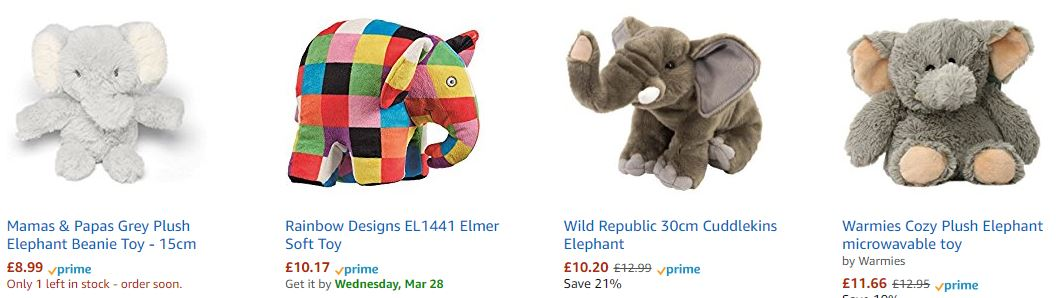 Pricing elephants?  amazon.co.uk search results for plush elephants
