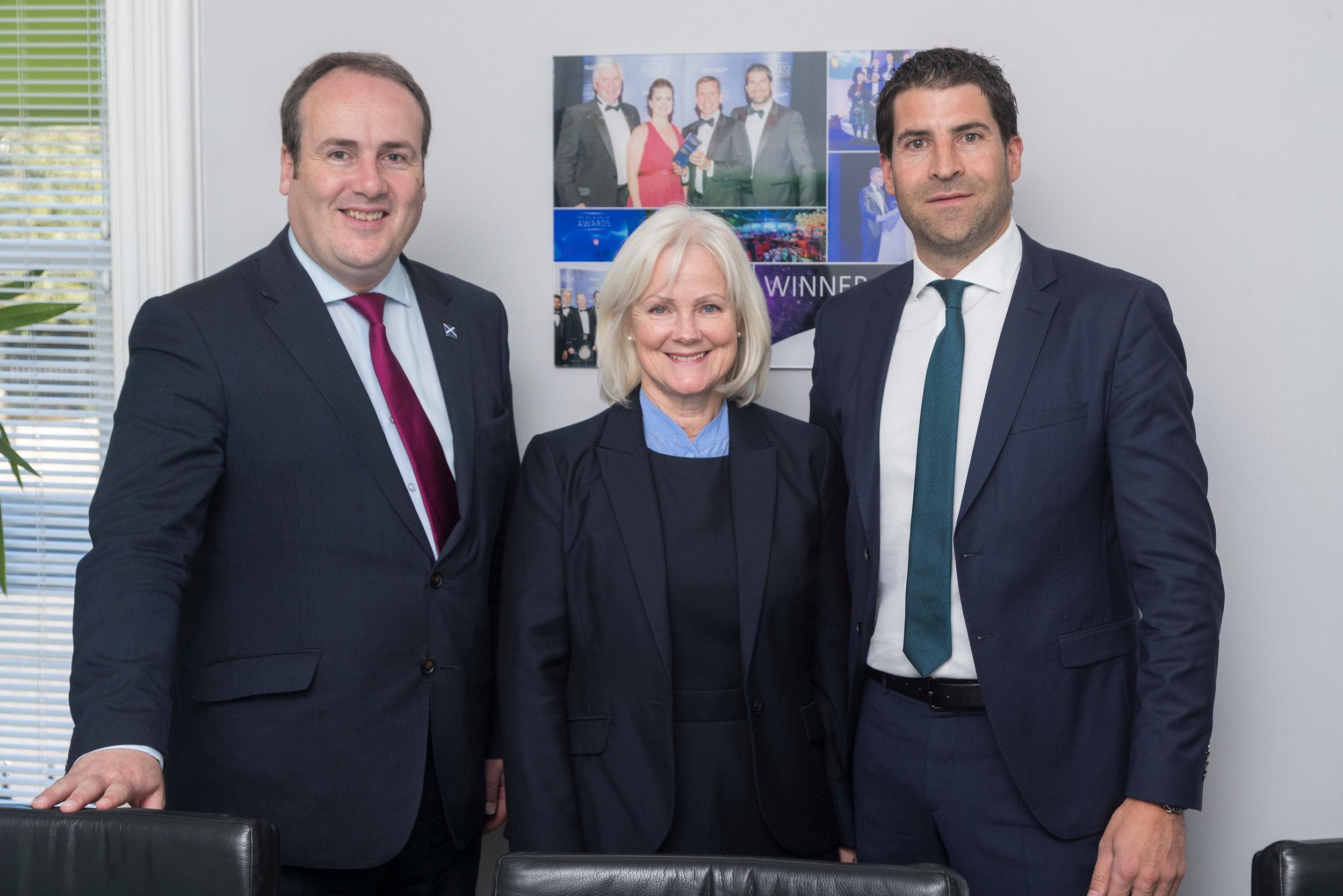 Paul Wheelhouse (Scottish Energy Minister) with Fiona MacDonald (Scottish Enterprise) and Jamie Bennett (OPEX CEO)