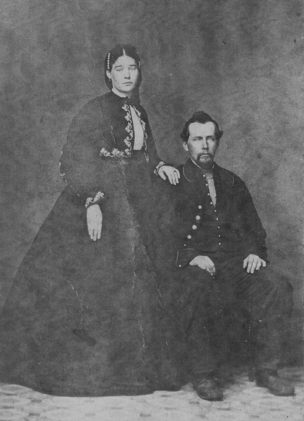Pvt. Abraham Burgner and wife, Co. I, 82nd Ohio. (Richard and Alma Fink Collection)